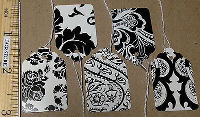 Lot 500 Country French Blackwhite Price Tags Pre-strung 5patterns Retail 5 Lace