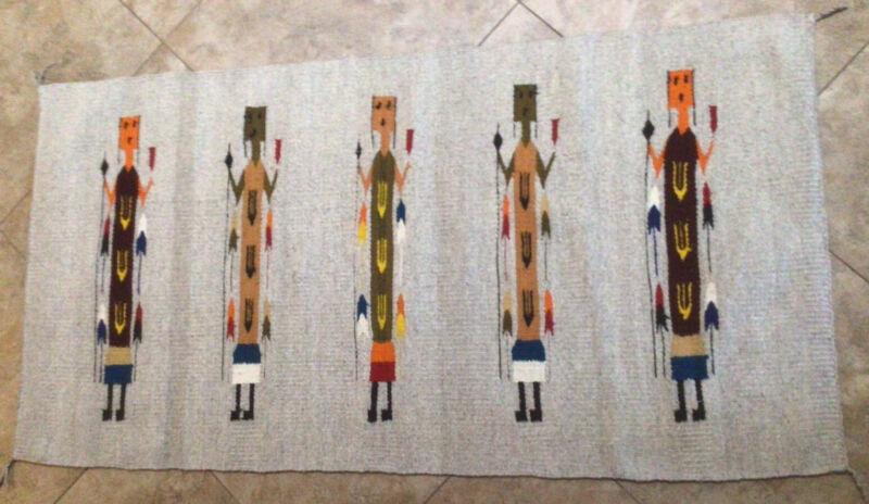 """Vintage Native American Yei Handwoven Rug 58""""x30"""" Nice"""