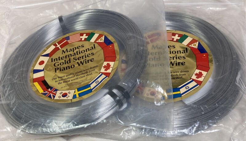 Lot of 2 5 Pound Coils Mapes International Gold Series Piano Wire Size 12 & 17.5