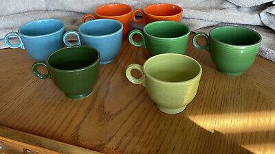 Vintage Fiesta-ware Fiestaware Lot Blue Green Orange Cups Unmarked