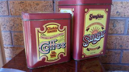 Two Old Vintage sugar and coffee matching tins box Runaway Bay Gold Coast North Preview