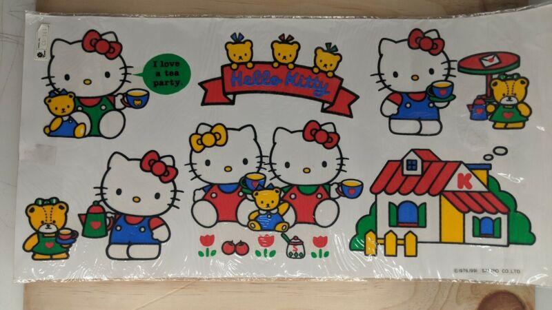 Vintage Sanrio Hello Kitty Stain Glass Sheet 1991