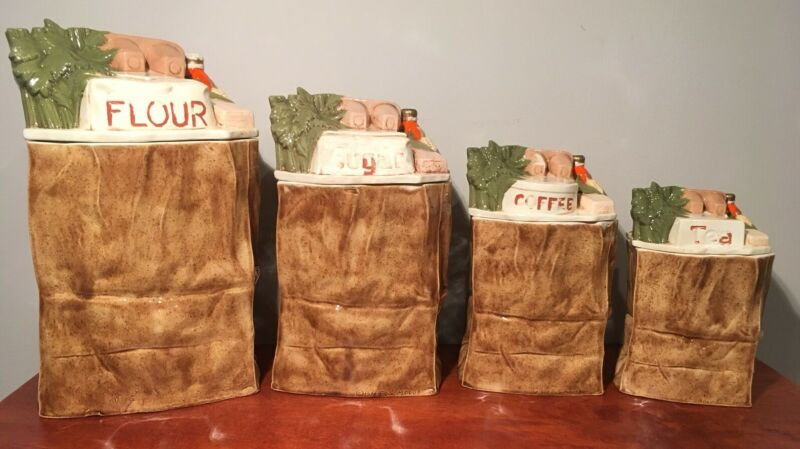 Vintage Hand Painted Ceramic Paper Shopping Grocery Bag Canisters-Set of 4