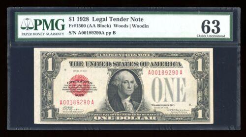 DBR 1928 $1 Legal Fr. 1500 PMG 63 Serial A00189290A