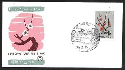 Korea Plum Blossoms Stamp Cachet FDC First Day Cover, Plant 1965