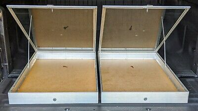Aluminum Glass Locking Display Cases2 22x34x3 14 End Opening No Liner 2 Cases