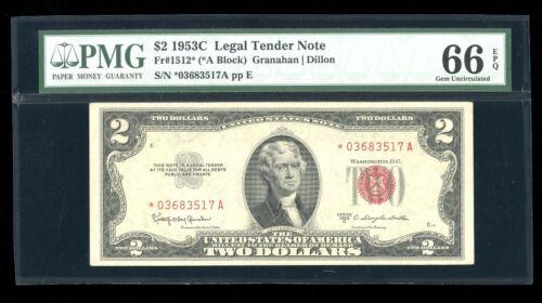 DBR 1953-C $2 Legal Gem STAR Fr. 1512* PMG 66 EPQ Serial *03683517A