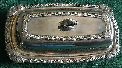 Crosby Silverplate Butter Dish (3 Piece) Bottom, Glass Insert & Lid