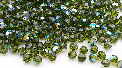 Olivine Austrian Crystal - 12 Pcs -6mm Swarovski Austrian Crystal #5000 Round - OLIVINE AB - Wedding/Crafts