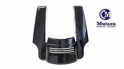 "Mutazu Vivid Black Angled Fender Tri Bar 5"" Extension for Harley 2014-17 FLH FLT"