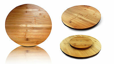 Rotating Bamboo Tray Round Lazy Susan 35cm Serving Solid Plate Pizza Board Wood Bamboo Lazy Susan