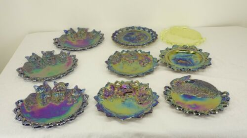 Antique Carnival Glass 9 PC Lot Iridescent PLATES WESTMORELAND Bear Cat Rabbit