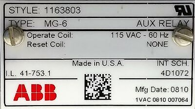 ABB MG-6 Auxiliary Multi-Contact Relay