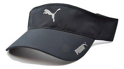 PUMA Reflective Logo Lightweight Polyester Adjustable Black Golf Sun Visor