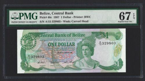 BELIZE $1 Dollar 1987, P-46c Central Bank, PMG 67 EPQ Superb Gem UNC, High Grade