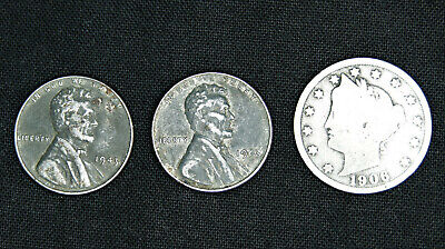 coins per lot AU Steel cent AU wheat cent Liberty V Nickel 3 old U.S