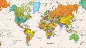 World Map Poster High Quality Unframed Canvas Wall Art Home Decor Print Office