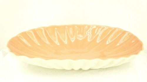 """Vintage CATALINA Pottery California 15.25"""" OVAL Console BOWL PINK Scallop Shell"""