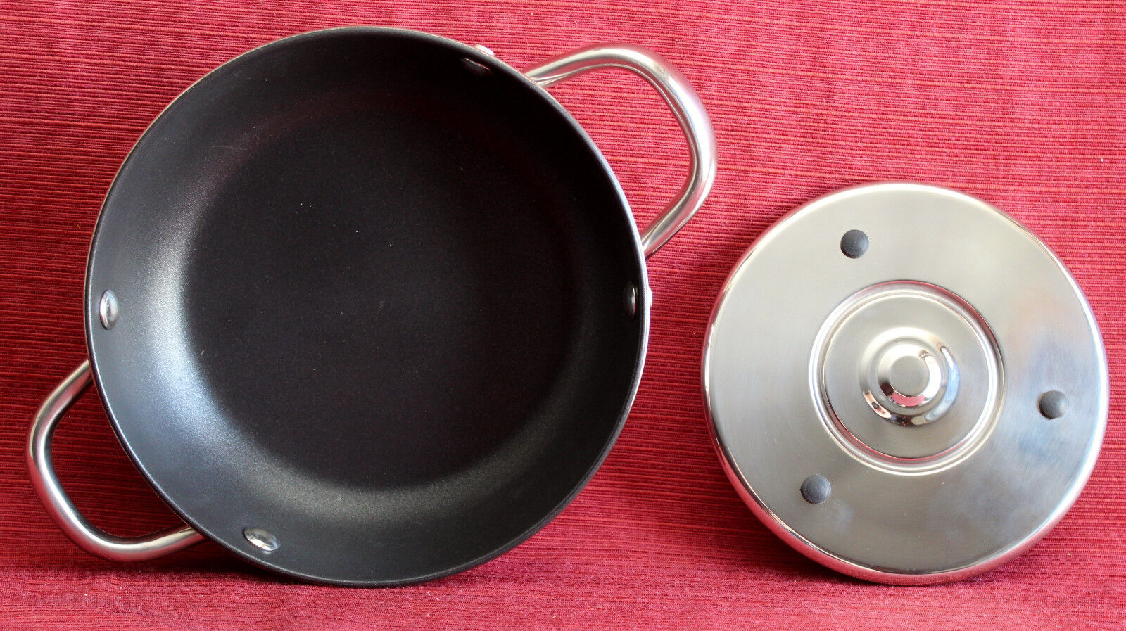 NEW Cooks Essentials Stainless Steel Impactbase Non-Stick Pan w/Magnetic Trivet