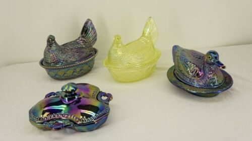 Antique Carnival Glass WESTMORELAND Covered Relish+Dish Hen/Duck on Nest CHOOSE