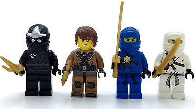 LEGO LOT OF 4 NINJAGO MINIFIGURES JAY ZANE NINJA FIGS WITH PEARL GOLD WEAPONS
