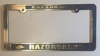 ARKANSAS RAZORBACKS CAR TRUCK TAG LICENSE PLATE FRAME UNIVERSITY SILVER (Arkansas Razorbacks Car)