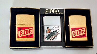 Vintage THREE Unfired NOS Zippo Advertising Lighter W/ Original Boxes NICE