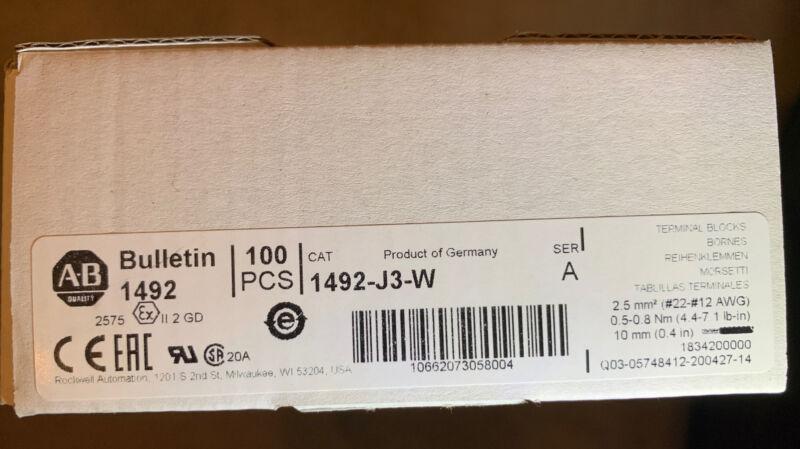 Allen-Bradley 1492-J3-W, Feed Thru Screw Terminal Block, 3mm, White, Box 100 Pcs