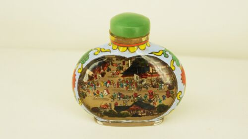 Vintage Chinese REVERSE Painted Glass SNUFF BOTTLE Intricate MARKET & SHIP