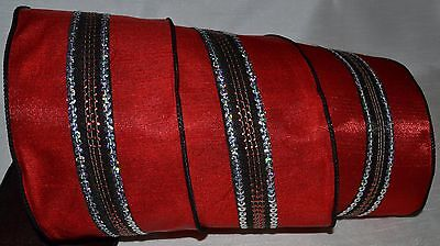 Wired Ribbon~Luxury Christmas Red~Silver Sequin Black Stripe~4