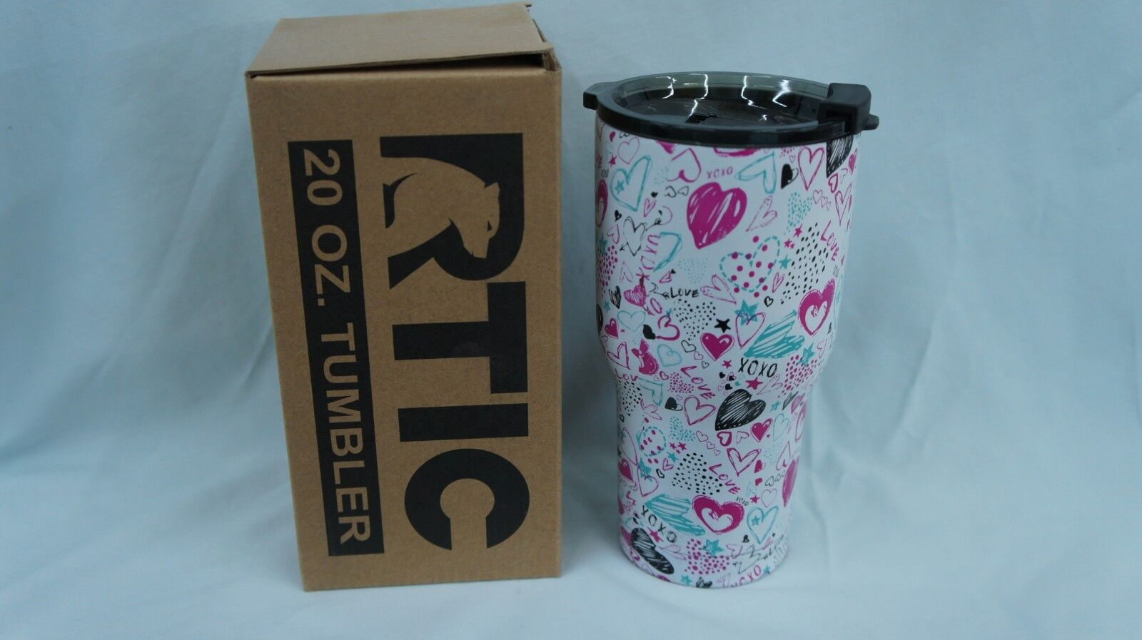 rtic 20 oz stainless steel tumbler LOOK hydro dipped in hear