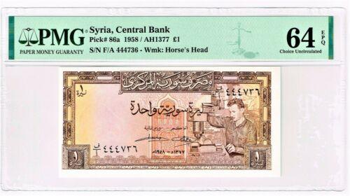 Syria: 1 Pound 1958 / AH1377 Pick 86a PMG Choice Uncirculated 64 EPQ.