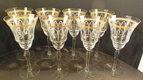 """Tiffin? Morgantown? lot x8 crystal water goblets 8 1/4"""" w gold needle etch archs"""