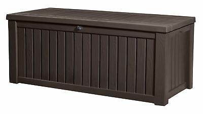 Keter Rockwood Outdoor Plastic Deck Box, All-Weather Resin Storage, 150 Gal, Br