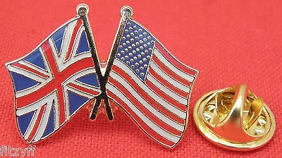 America USA UK Union Jack Flag Friendship Lapel Hat Tie Pin Badge United States
