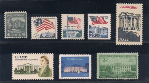 THE WHITE HOUSE - WASHINGTON, DC - SET OF 8 U.S. POSTAGE STAMPS - MINT CONDITION