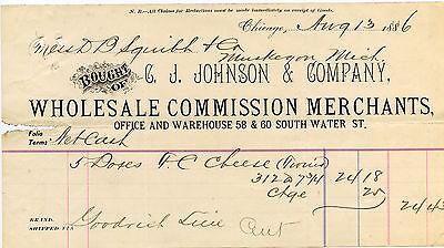 C.J. Johnson & Co. Wholesale Commission Merchants, Sales receipt 1886, Michigan