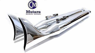 "Mutazu 3"" Dia. Fishtail Fishtail 33"" mufflers exhaust for Harley 95-16 Touring"