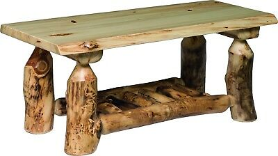 Aspen Log Furniture - Rustic Aspen Log Coffee Table - Amish Made in the USA