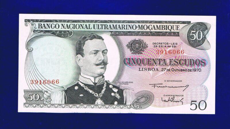 MOZAMBIQUE 50 ESCUDOS 1970  PIC 111 NO OVERPRINT AU-UNC 3916066