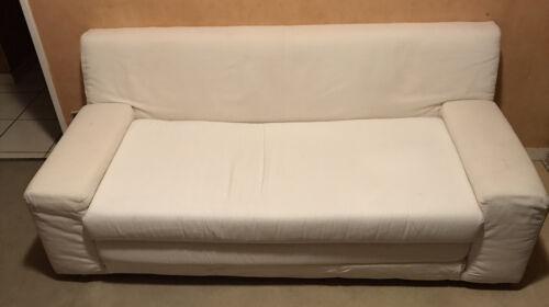 Canapé lit blanc 173x80 ( matelas dépliant mousse 130x195)