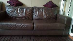 Brown Leather lounge 3-seater and 2 seater. Canada Bay Canada Bay Area Preview