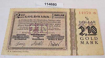 2,10 Goldmark Banknote wertbeständiges Notgeld Clausthal 1923 (114680)
