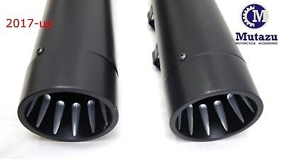 MUTAZU Fluted cut Black Megaphone Slip-On Mufflers Exhaust 17-up Harley Touring