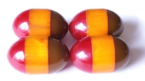 Buy ONE or MORE...Vintage 3-Color Bakelite Button….Maroon, Butterscotch, & Green