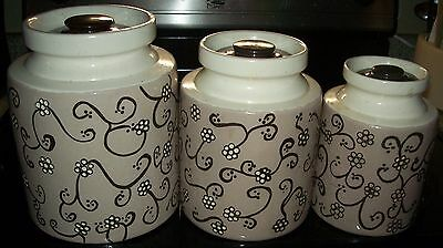 Vintage 3-Pc Beige/Brown Hand Painted Rustic Canister Set Retro Kitchen - RARE
