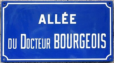 French enamel street sign plaque road name plate Alley Doctor Bourgeois Etampes