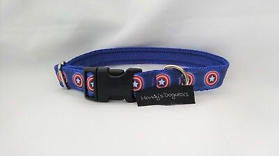 Hund Captain America (Captain America dc inspired dog collar only or collar & lead set small dog puppy)