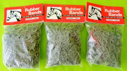 3 Packs 1000~3000 GRAY Elactic Rubber Band MANE~Tail Braid Braiding BANDS &COMBS