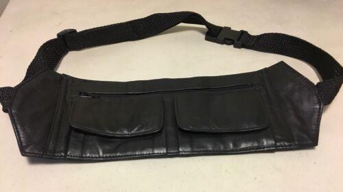 Black Genuine Leather Fanny Pack Waist Bag Hip Belt Pouch Tr